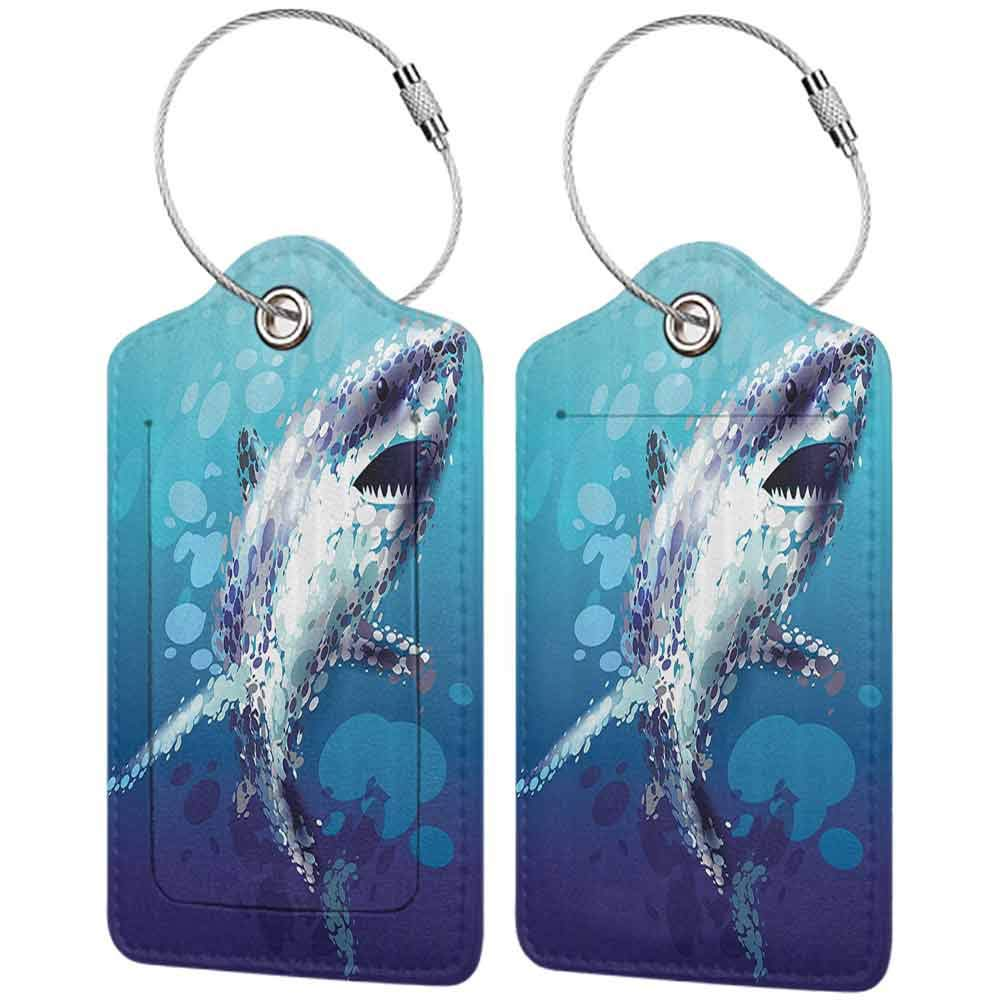 Modern luggage tag Sea Animal Decor Digital Made Psychedelic Shark Figure with Droplets Scary Atlantic Beast Suitable for children and adults Blue Grey W2.7 x L4.6