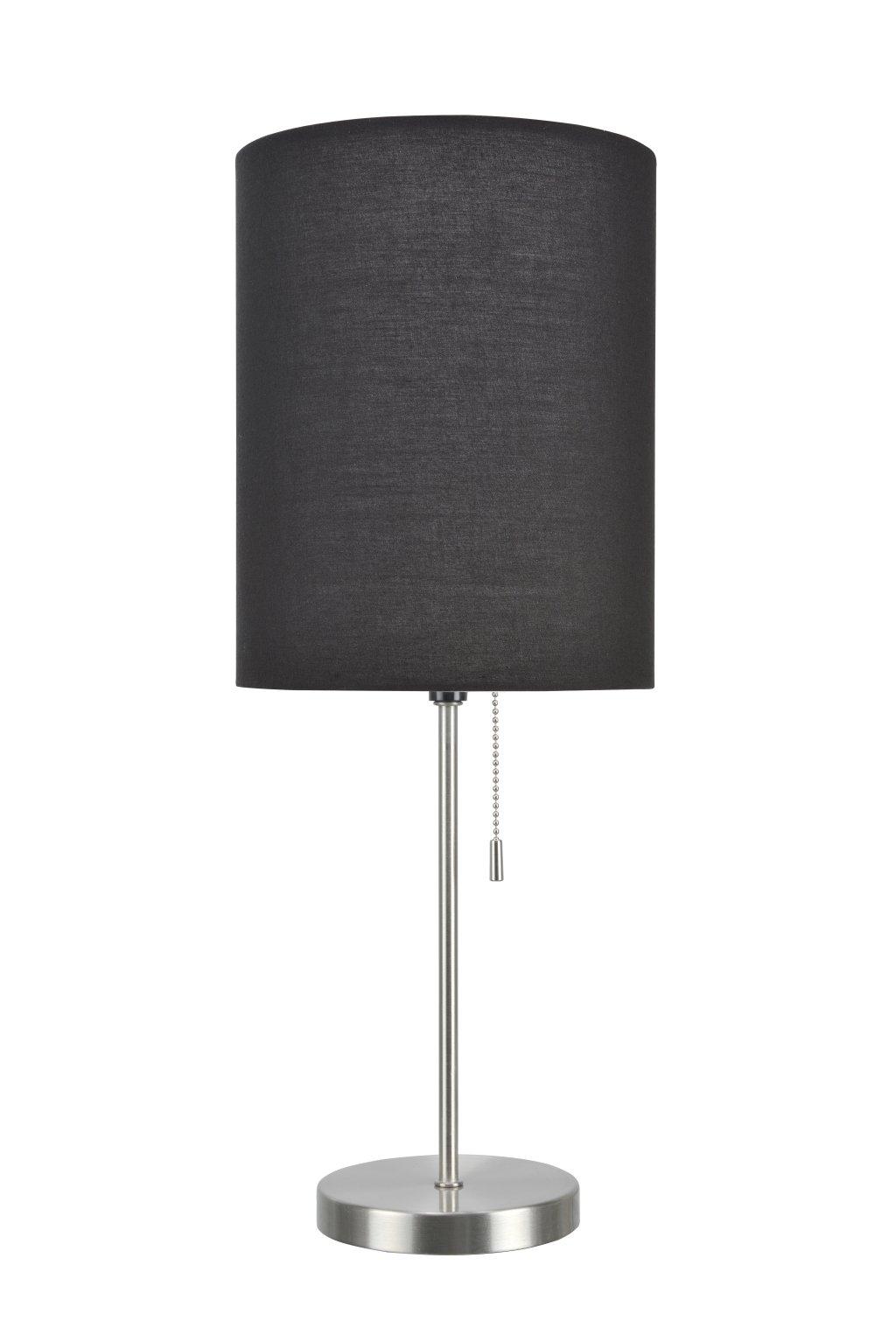 Aspen Creative 40083-3 1-Pack Set-1 Light Candlestick Table Lamp, Contemporary Design in Satin Nickel, 19 1/2'' High, Black