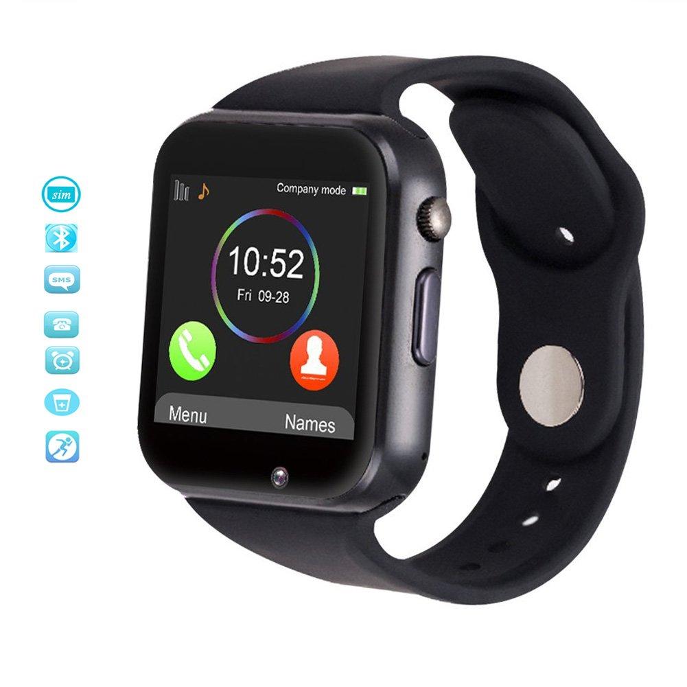 Android Smartwatch, MallTEK Android Smart Watch Bluetooth con Slot per Scheda SIM / TF, Smart Watch 1.54 Pollici, Braccialetto Sportivo con Fotocamera, Funzione Pedometro, Sonno Monitor, Telecamera Remota ecc, Orologio Intelligente per Huawei, Doogee, Samsung, Lenovo, Sony, HTC e altro Smartphone Android (Nero)