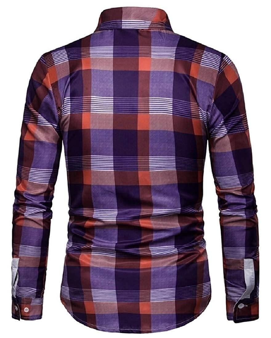 HTOOHTOOH Mens Print Pattern Long Sleeve Slim Fit Plaid Leisure Button Down Dress Shirts