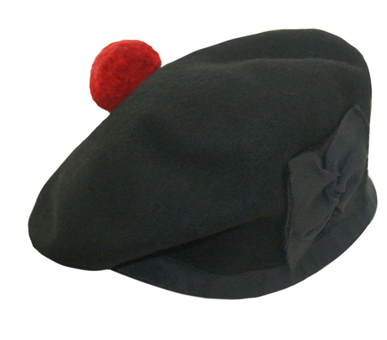 af4c68c42de Wool Balmoral Bonnet Hat Scottish Piper Black