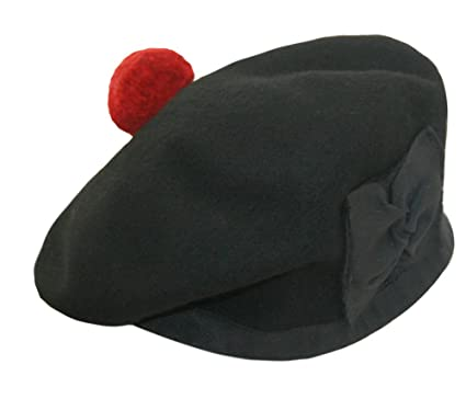 560f13cc93b 100% Pure Wool Balmoral Bonnet Hat Scottish Piper Black  Amazon.co ...