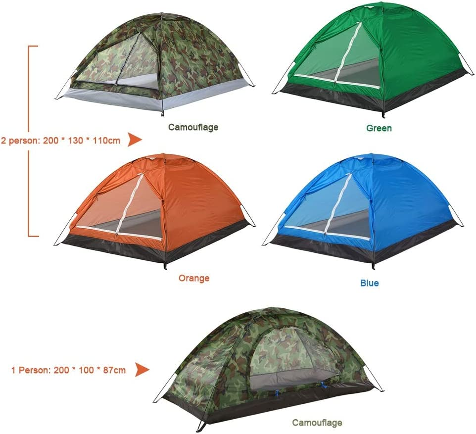 TENT Vissen wandelen Camping tent Single Layer Portable 1/2 Persoon Outdoor Camping Tent Summer Beach Tent Camouflage 2 person blue