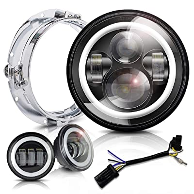 7 inch LED Headlight Fog Passing Lights DOT Kit Set Ring Motorcycle Headlamp Ring for Harley Davidson Touring Road King Ultra Classic Electra Street Glide Tri Cvo Heritage Softail Deluxe Fatboy Black: Automotive