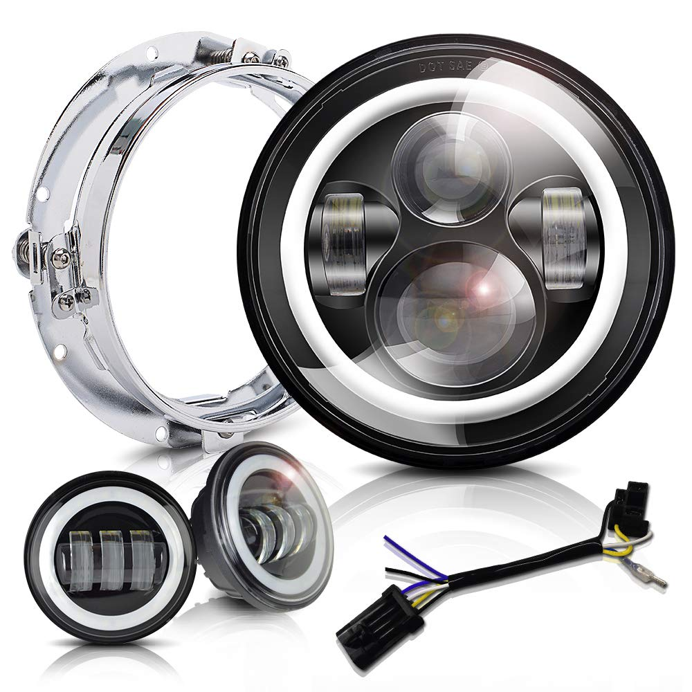 7 inch LED Headlight 4.5 Fog Passing Lights DOT Kit Set Ring Motorcycle Headlamp for Harley Davidson Touring Road King Ultra Classic Electra Street Glide Tri Cvo Heritage Softail Deluxe Fatboy Black