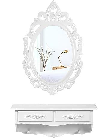 SONGMICS Mini Tocador de Pared, con 1 Espejo Ovalado y 2 Cajones, Mesa de