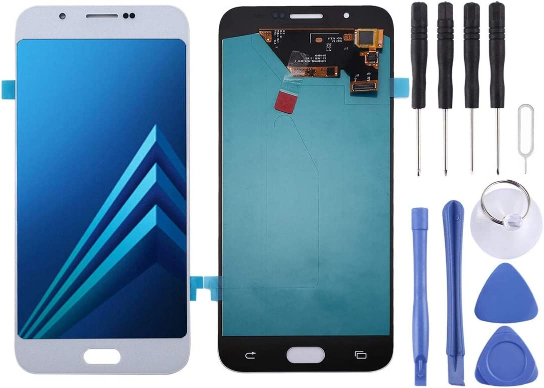Color : White LCD Screen Mobile Phone OLED Material and Digitizer Full Assembly for Galaxy A8 Black