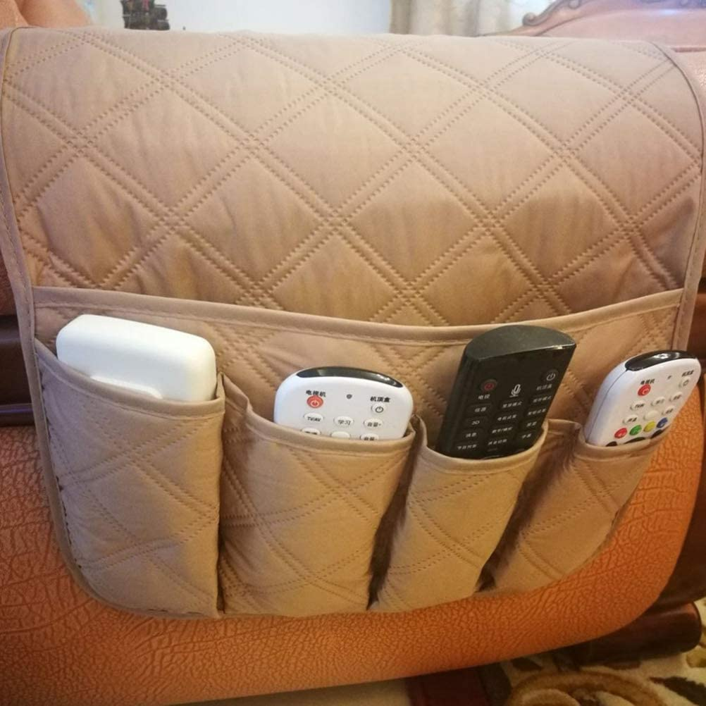 TV Remote Control Suitable for Phones OUNONA Couch Chair Armrest Organizer Beige Magazines Books