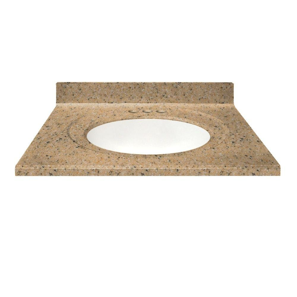 - US Marble 49 In. Cultured Granite Vanity Top In Spice Color With