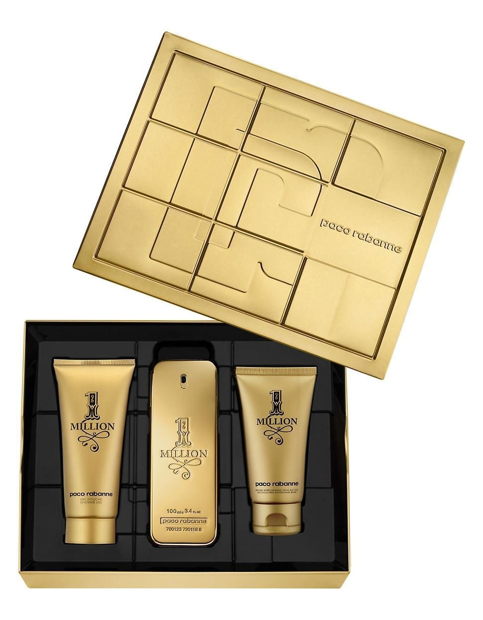 Paco Rabanne One Million 3 Pieces Gift Set 100 ml Eau De Toilette + 100 ml After Shave Balm+ 75 ml Shower Gel For Men