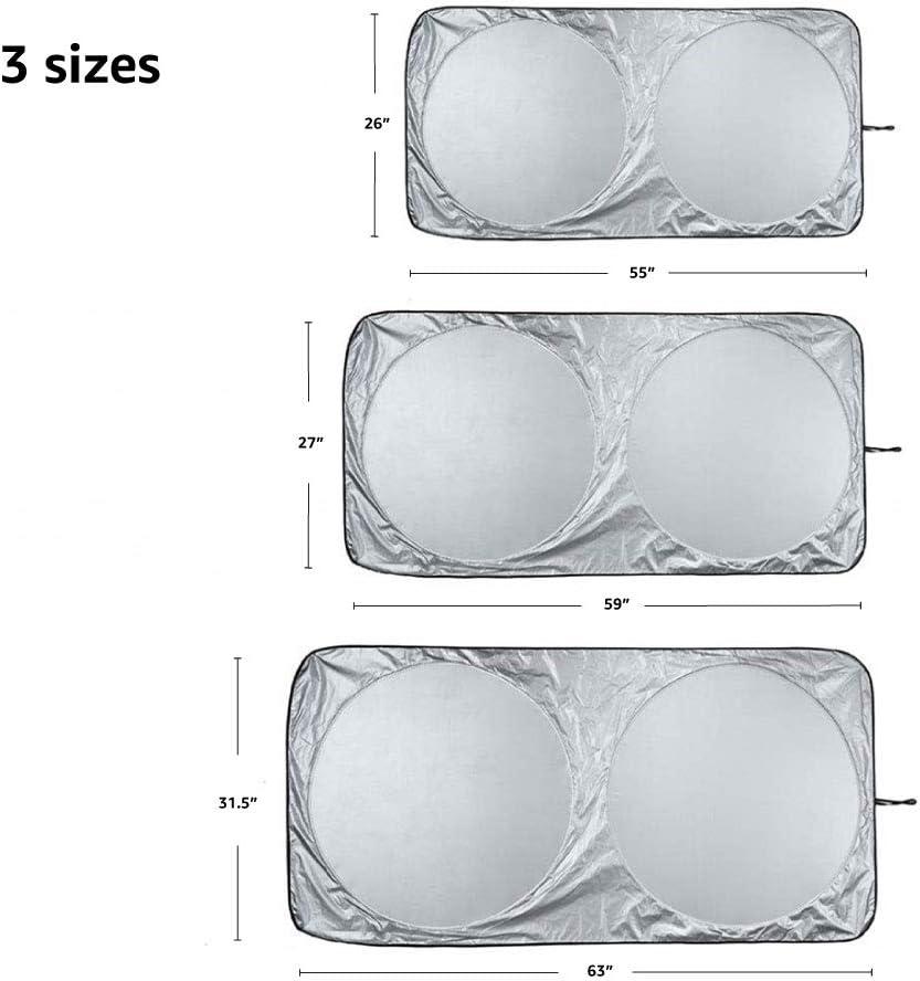 Parasole per parabrezza anteriore 130 cm x 58,4 cm Basics 2 mm di spessore pieghevole protezione dai raggi UV riflettente