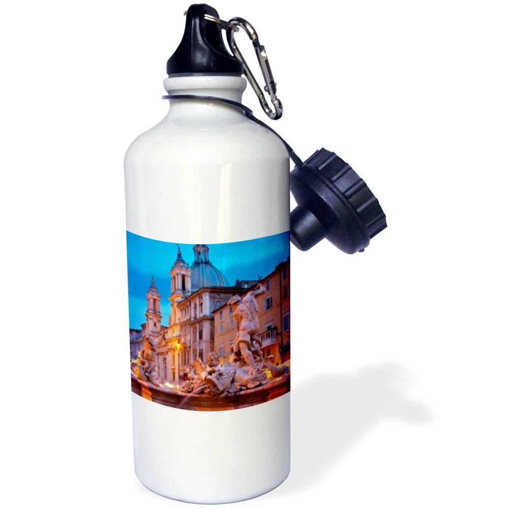 3dRose wb_137602_1 ''Piazza Navona, Fountain of Neptune, Rome, Italy EU16 BJN0131 Brian Jannsen'' Sports Water Bottle, 21 oz, White