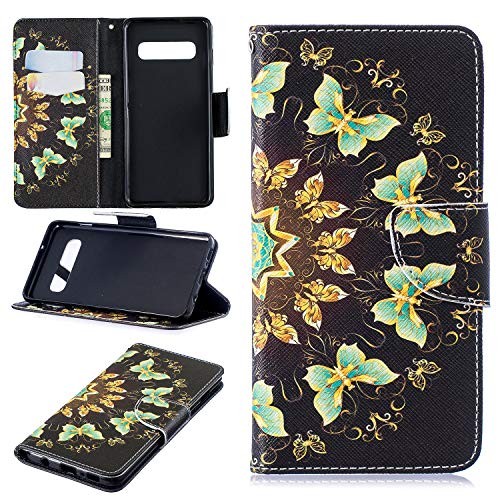 Belkin Hands Free Leather Case - Galaxy S10 Case, Galaxy S10 Wallet Case, Dooge Premium PU Leather Full Body Protective Case with Credit Card Holders, Wrist Strap, Folding Stand Support Fit for Samsung Galaxy S10 6.1
