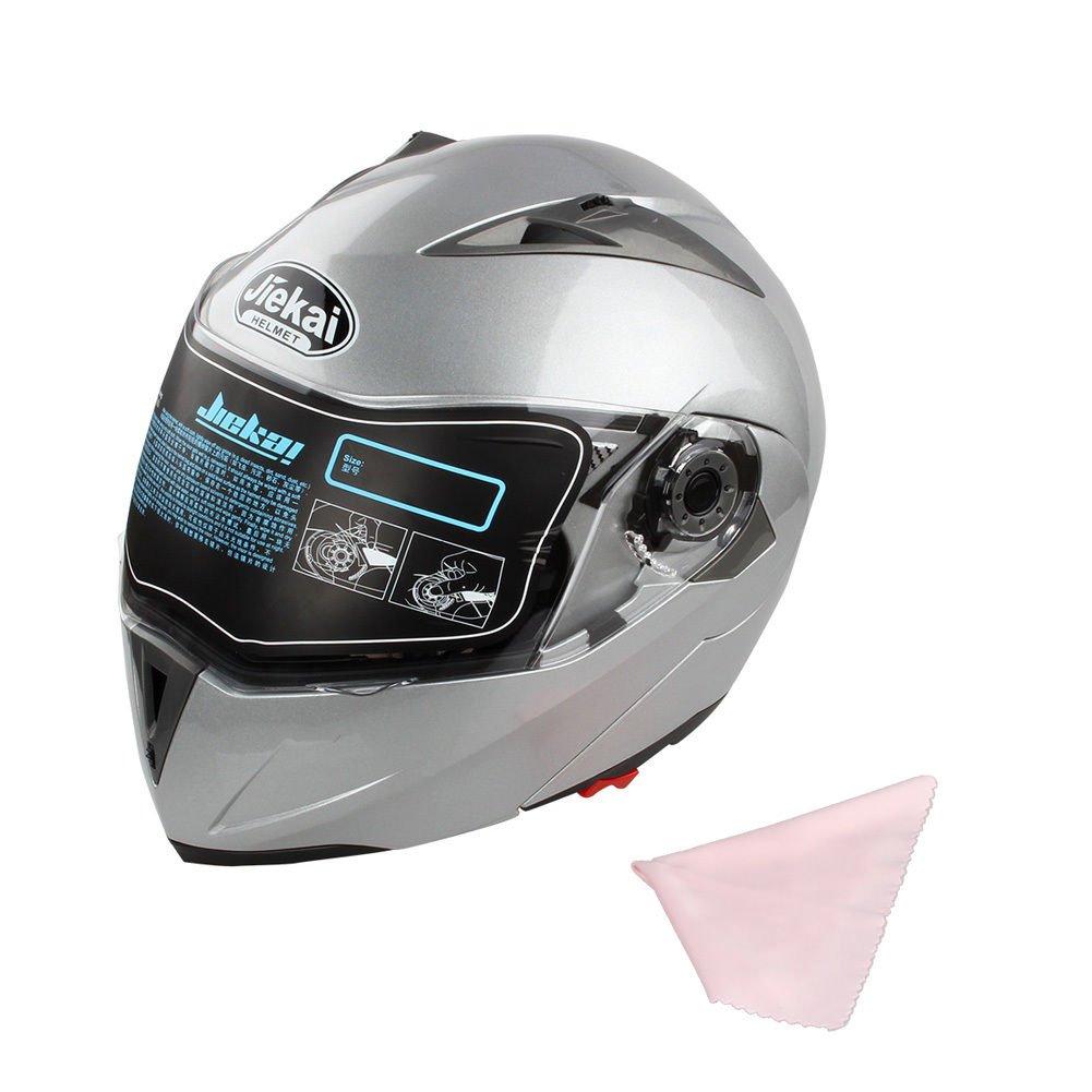 Nero Brillante, XL Vicera Casco Moto Scooter con Parasole Ventilazione Casco Pieghevole Moto Basso Rumore del Vento Estink Casco Integrale Moto