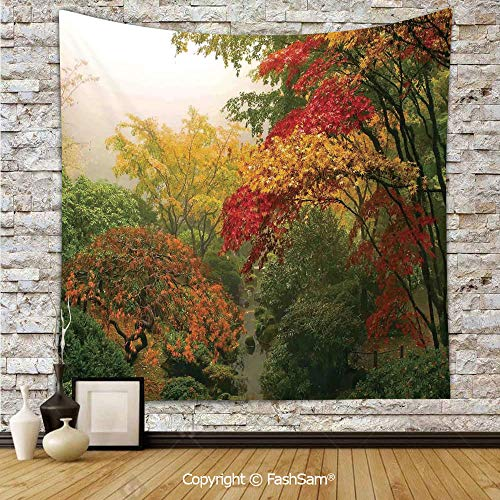FashSam Tapestry Wall Hanging Maple Trees in The Fall at Portland Japanese Garden One Foggy Morning Scenery Tapestries Dorm Living Room -