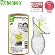 Haakaa Breast Pump with Flower Stopper 100% Food Grade Silicone BPA PVC and Phthalate Free (3oz/90ml) (White)