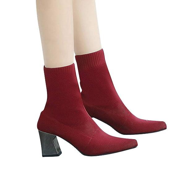 Viernes Negro JiaMeng Punta Estrecha Zapatos de tacón Alto Botas de Tela elástica de Tubo Medio Botas sin Cordones Mujer Retro Otoño Invierno: Amazon.es: ...