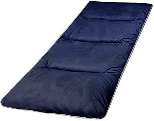 REDCAMP XL Cot Pads for Camping, Soft Comfortable Cotton Thick Sleeping Cot Mattress Pad 75 x29 , Grey and Navy Blue