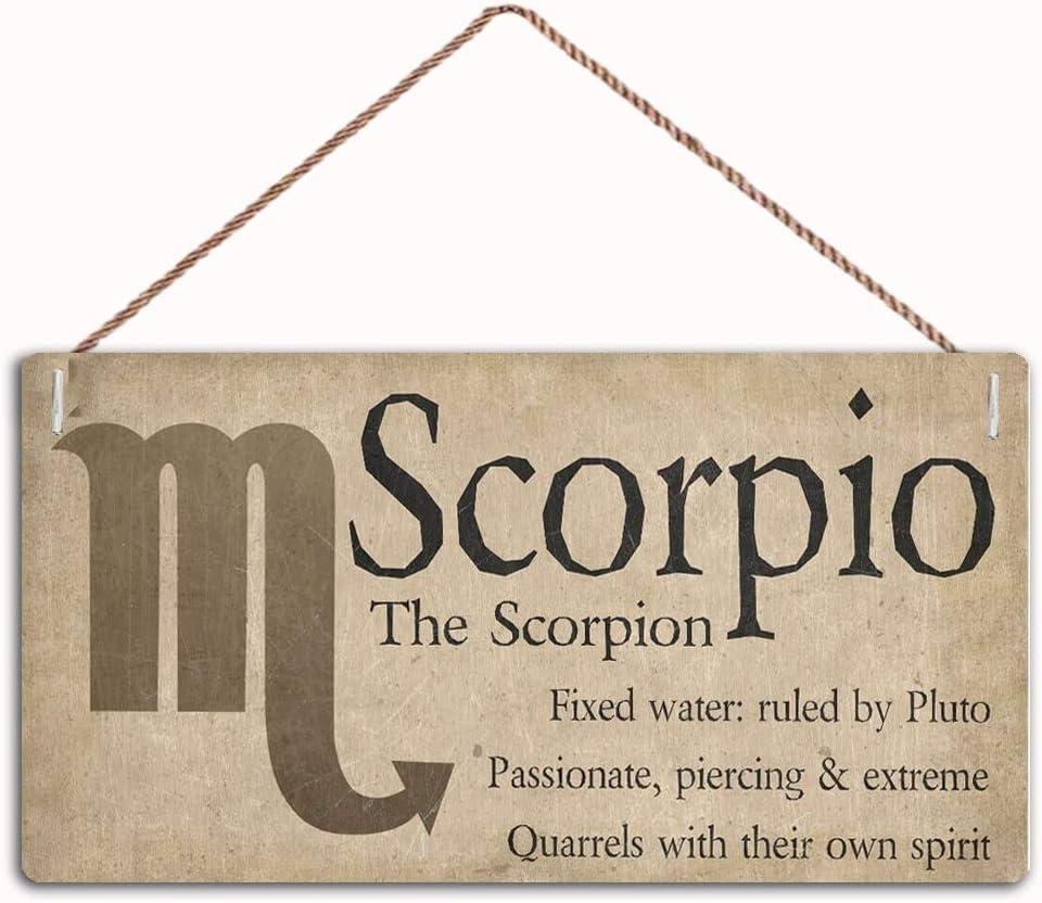 "AJHERO Scorpio The Scorpion Beautiful Spiritual Gift Astrology Sign of The Zodiac,Family Decor Sign,Wall Door Sign,10""X5""inches(B230)"