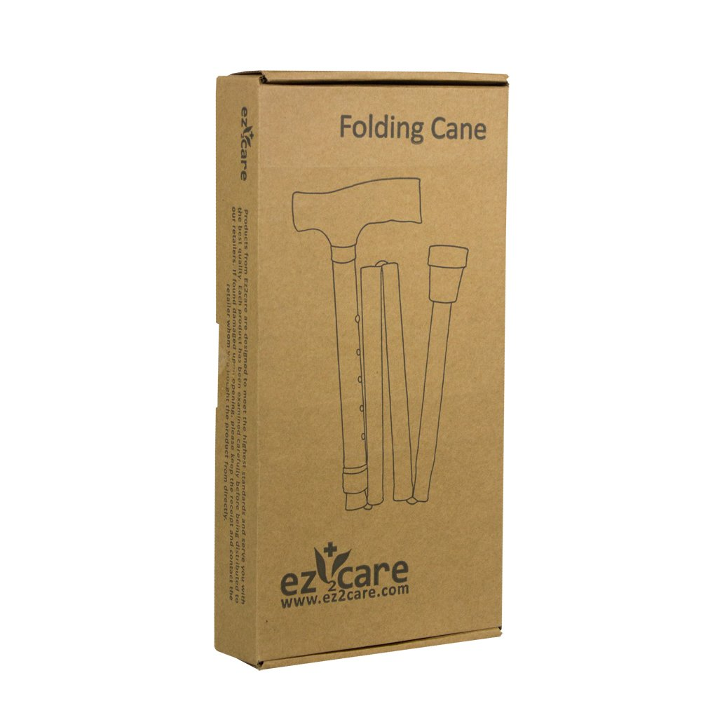 Ez2care Classy Adjustable Folding Cane with Carrying Case, Metallic Grey by Ez2care (Image #4)