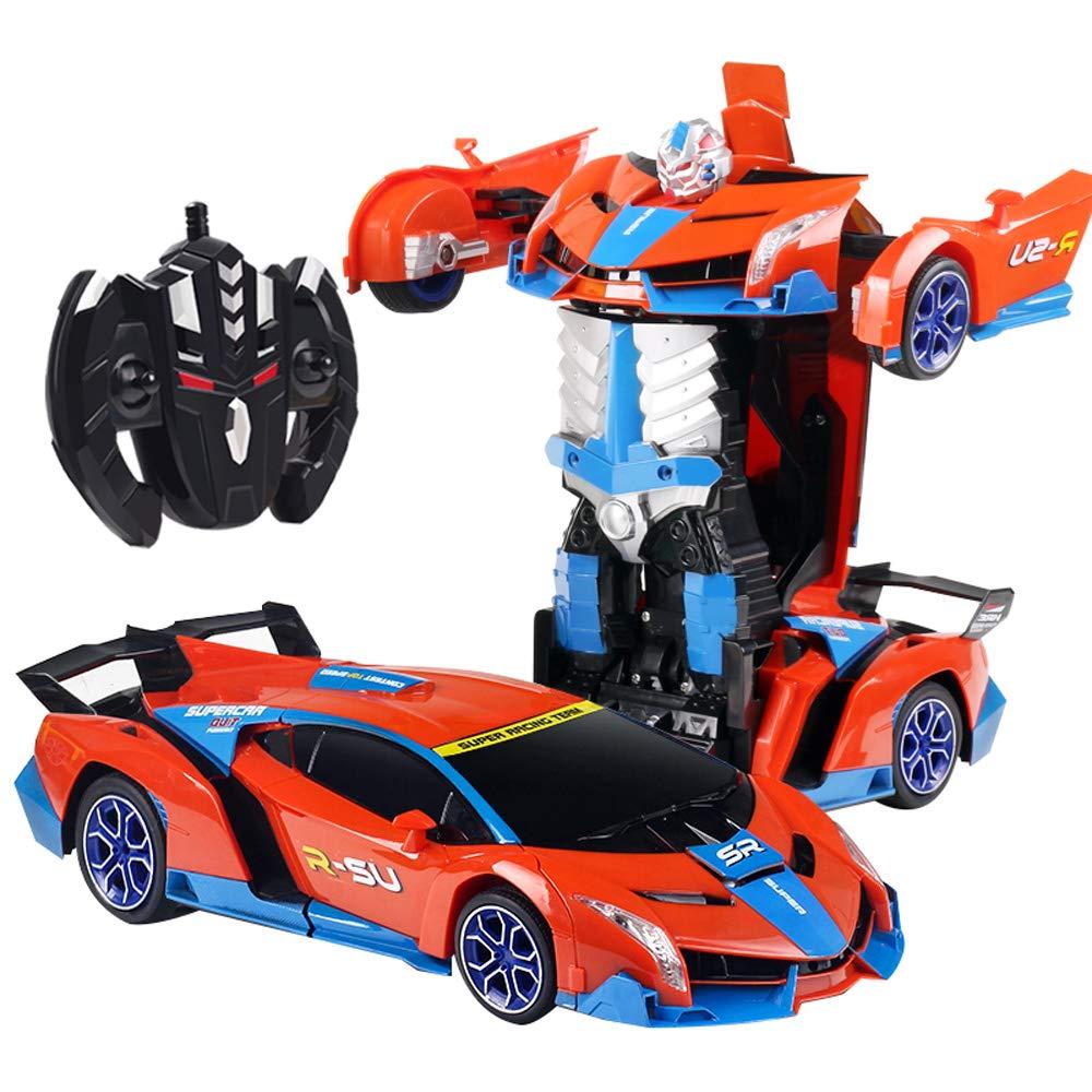Pinjeer 37cm Large Größe Kinderspielzeug Auto Fernbedienung Auto One Button Deformation Auto Ladedrift Fernbedienung Racing Boy Spielzeug Geste Induktionsverformung Auto für Kinder 6+