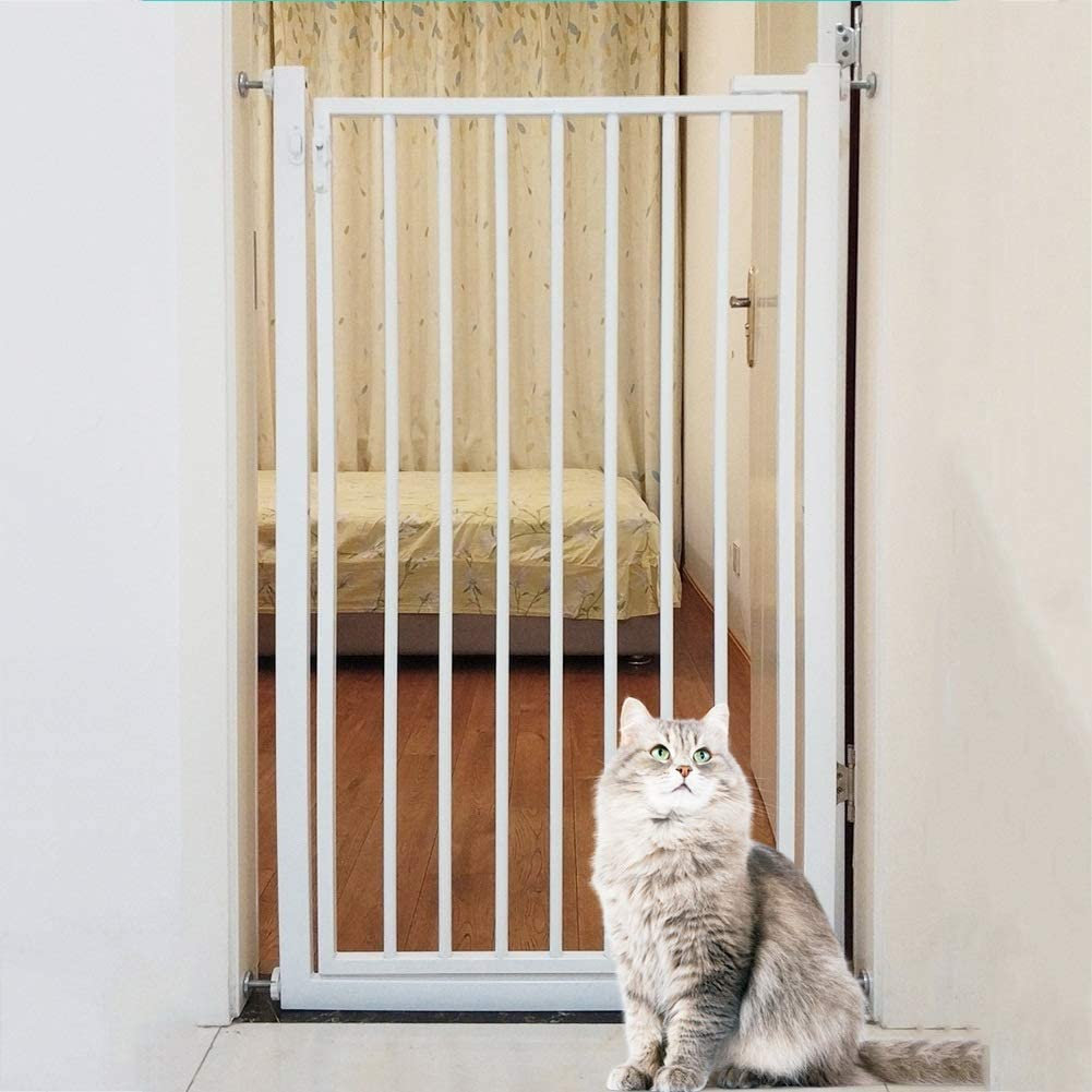 Barrera Seguridad 110cm De Alto Puertas De Seguridad para El Bebé/Perro/ Gatos, Pared/Escaleras 270 ° Two Way Abrir La Puerta De La Estancia/Incluye Kit De Extensión (Size : 81-83cm): Amazon.es: Hogar
