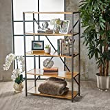Relee 34'' Wide Natural Stained Acacia Wood Bookcase with Rustic Metal Finished Iron Accents
