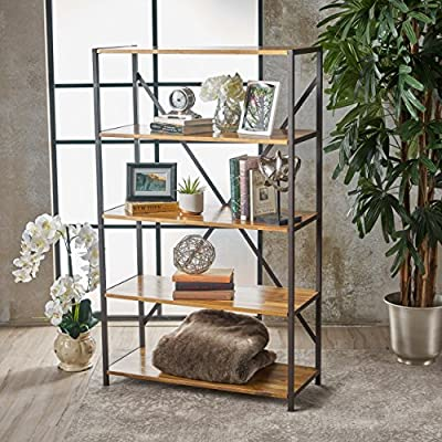 "Relee 34"" Wide Natural Stained Acacia Wood Bookcase with Rustic Metal Finished Iron Accents - Includes: One (1) Bookcase Dimensions: 14.50 inches deep x 34.00 inches wide x 56.50 inches high Material: Acacia Wood - living-room-furniture, living-room, bookcases-bookshelves - 61S5Whtn6tL. SS400  -"
