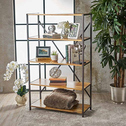 Relee 34'' Wide Natural Stained Acacia Wood Bookcase with Rustic Metal Finished Iron Accents by GDF Studio