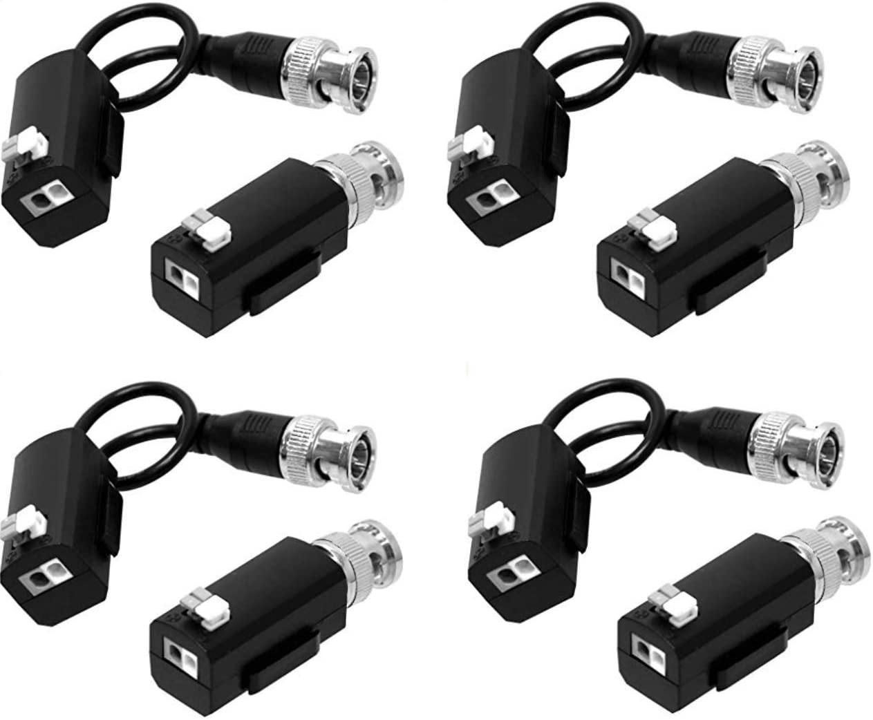 HDView Video Balun, HD-TVI/CVI/AHD/Analog/960H Passive Video Balun Tansceiver for 720P 1080P 3MP 4MP 5MP, HD Video Balun Transmitter (4 Pairs)