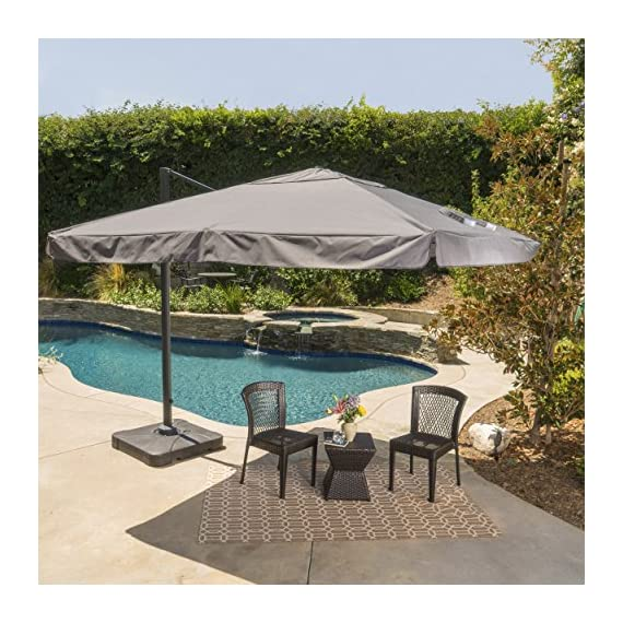 GDF Studio Meridiana Patio Shade | 9.8 Foot Outdoor Canopy Umbrella | Cantilever Design | Resin Base | Rigid Aluminum and Steel Frame | Durable Polyester Canopy in Grey - Includes: One (1) Umbrella and One (1) Base Dimensions: 118.0 inches deep x 118.0 inches wide x 104.00 inches high Frame Material: Aluminum and Steel - shades-parasols, patio-furniture, patio - 61S5X5cdN5L. SS570  -