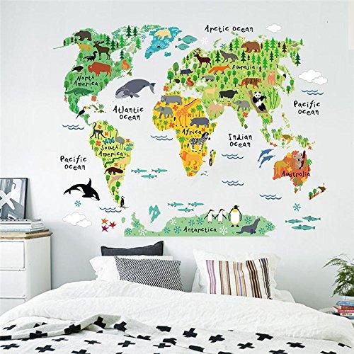 Hmond(TM) Cartoon Animals World Map Wall Stickers for Kids Room Decorations Safari Mural Art Zoo Children Home Decals Nursery - Arizona For Map Kids