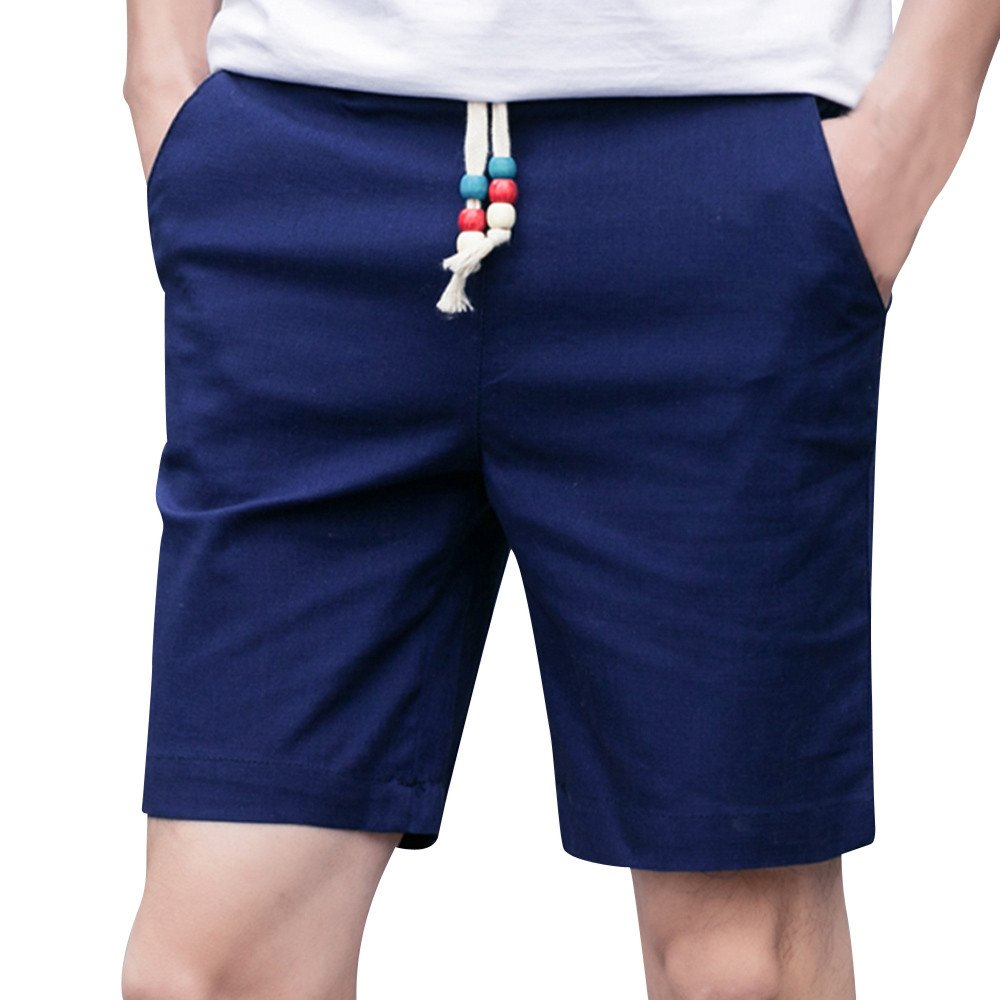Kstare Classic Fit Shorts Men Summer Linen Cotton Solid Beach Casual Elastic Waist Pants Trousers Sweatpants Navy