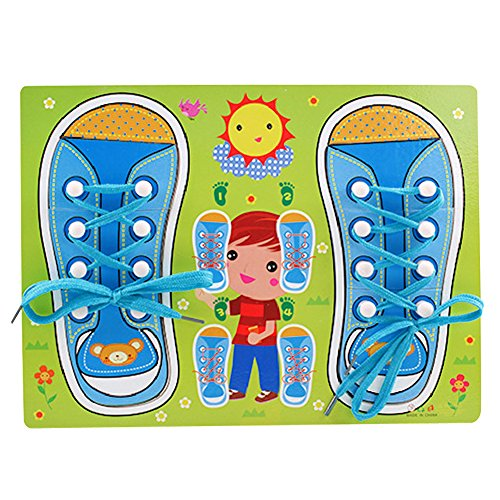 Babies 2003 Wall Calendar - GreenSun TM Cartoon Shoes Shape Tie Sewing Toy Montessori Educational Teaching Tie Shoes Threading Puzzle Toy Wooden Lacing Shoes Board