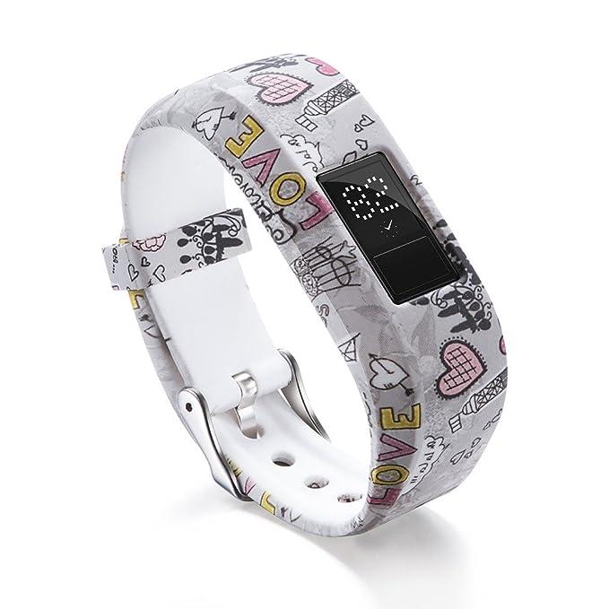 LANSKIRT_Correas de Reloj de Silicona Reemplazo repuestos de Relojes Recambio Brazalete Extensibles Pulsera para Garmin VivoFit Jr / Jr 2 Kids Fitness: ...