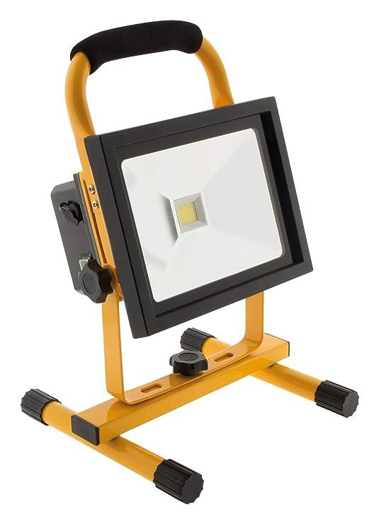 Proyector de obra con luz LED 20 w, IP65, recargable, color negro ...