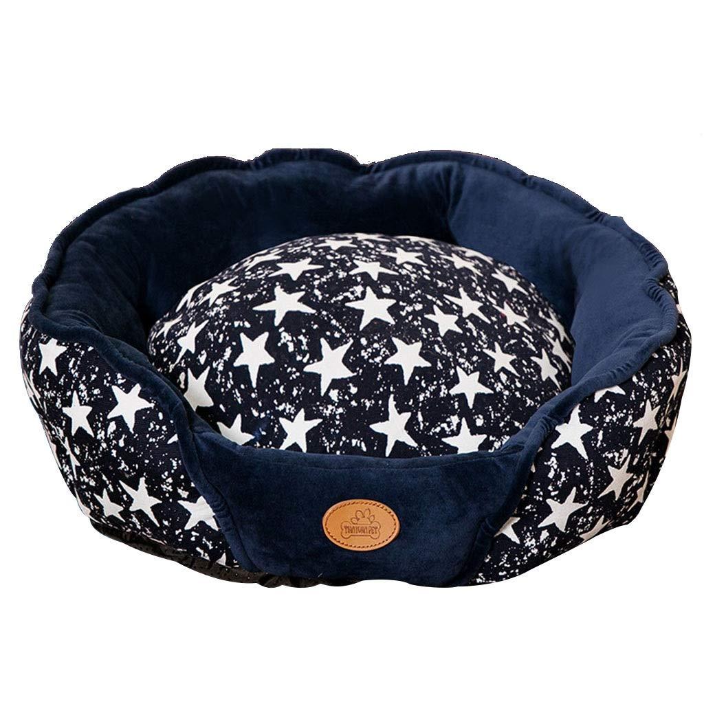 ペットの巣、犬小屋、猫のベッド、冬の暖かいペットの巣、中小犬のペットの巣、犬のマットレス、取り外し可能なペットの巣、深い眠りのペットの巣 (Color : 青, Size : M) 青 M