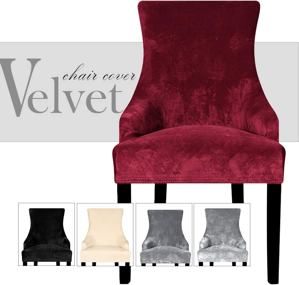 Lellen Velvet Stretch Wingback Chair Cover Slipcover - Reusable Arm Chair Protector Cover for Dining Room Banquet Home Decor etc Machine Washable Hand Washable (Set of 2,Wine)