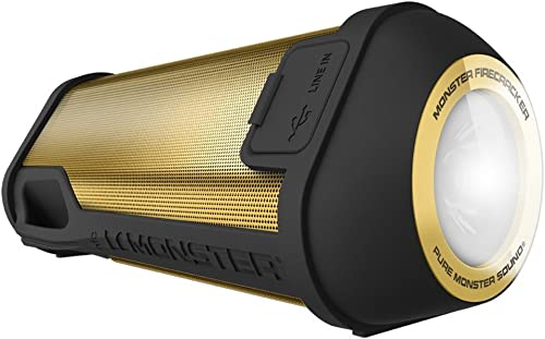 Monster Firecracker High Definition Bluetooth Speaker, Gold bluetooth wireless speaker for outdoor, camping