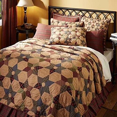 1 Piece lodge Quilt Queen, Unique Patchwork Cabin Pattern, Gorgeous Rustic, Plaid, Stripe Fabric Design, Indian Traditional Classic Style, Western Reversible Bedding, Sage Green, Red, Tan Color Unisex