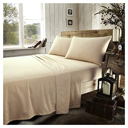 Thermal Flannelette 100/% Brushed Cotton FLAT Bed Sheet Pillow Case