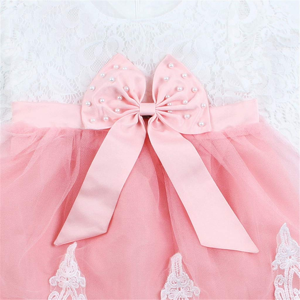 73256f0d4 Amazon.com: Baby Girls Party Dress Lace Mesh Tutu Bow Princess Dresses  Clothes Outfits White: Clothing