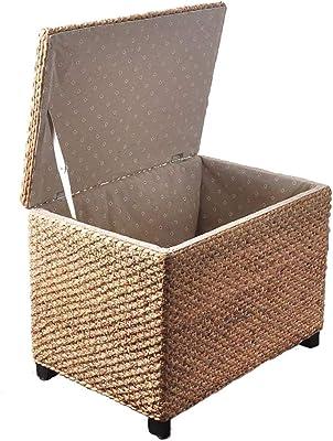 LXF Ottomans Storage Ottoman with Lid, Rattan Grass Hand-Woven Change Shoe Bench Children's Toy Storage Box