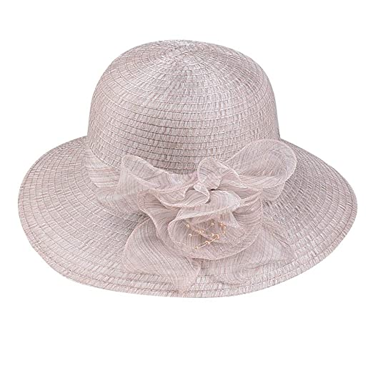 63e8cfce Toponly Beach Sun Summer Hat for Women Floppy Foldable Wide Brim Straw  Flower Panama Hat Coffee
