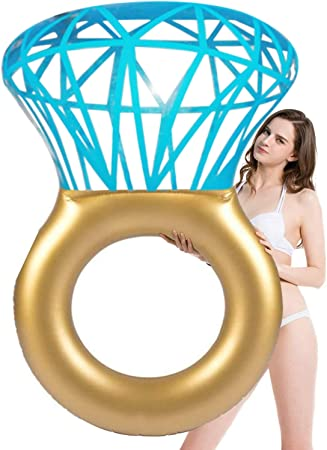EPROSMIN Inflatable Diamond Ring Pool Float - Summer Swimming Pool Floats Engagement Ring Bachelorette Party Float Decorations Outdoor Water Lounge for Adults & Kids