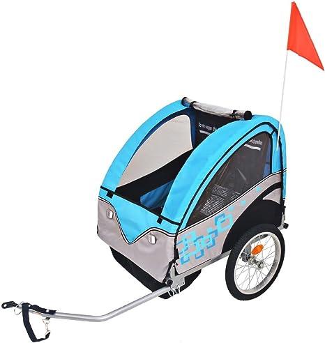 vidaXL Remolque de Bicicleta para Niños Gris Azul 30 kg Carrito ...