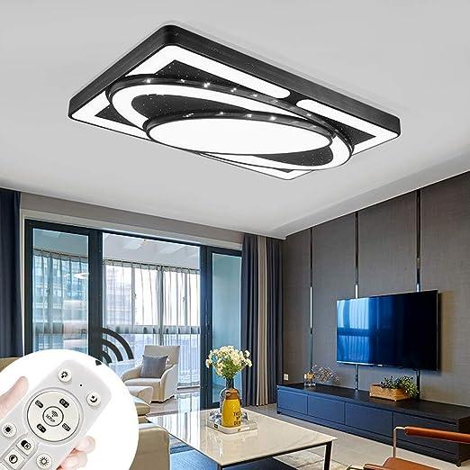 Deckenlampe LED Deckenleuchte 78W Wohnzimmer Lampe Modern Deckenleuchten Kueche Badezimmer Flur Schlafzimmer (Schwarz, 78W Dimmbar)