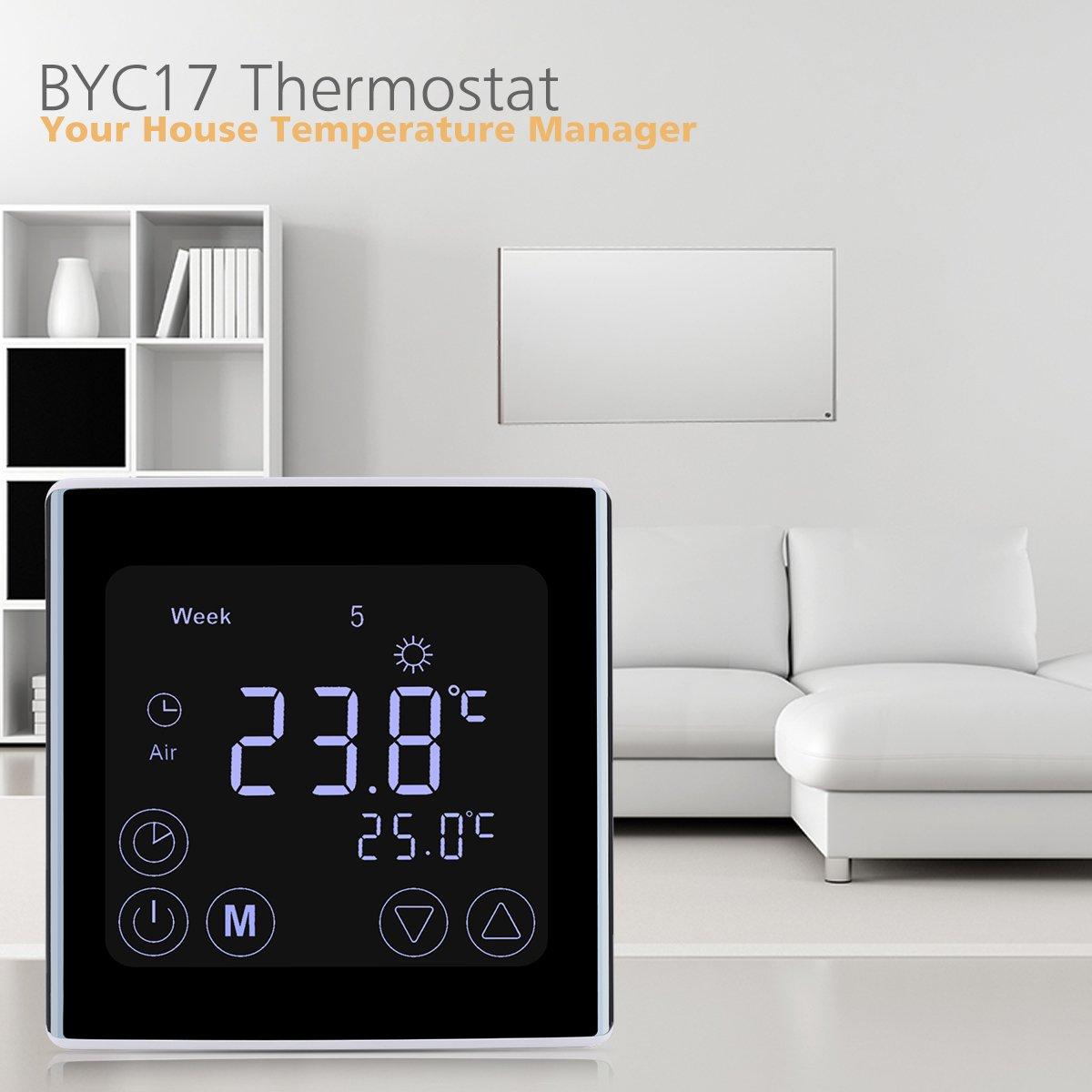 GH3/Thermostat THERMOSTAT Thermostat mural tactile LCD avec r/étro/éclairage blanc Digital Smart programmable thermostatique de radiateur pour chauffage au sol chauffage de leau 2/x Floureon byc17