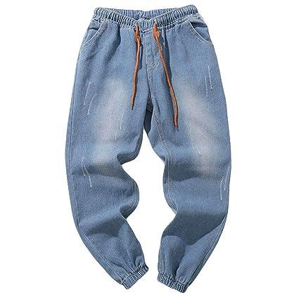 ZHRUI Pantalones Vaqueros para Hombre, Pantalones Sueltos de ...