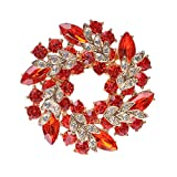 MUZHE Hoop Hollow Crystal Circle Flower Brooch Pin Wreath Corsage for Girl Christmas Gift (Red)